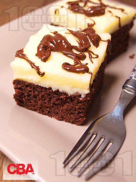 Шоколадово брауни с маслен крем  - снимка на рецептата
